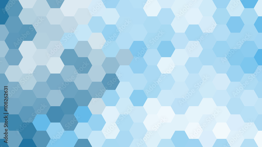 Fototapeta Pastel blue geometric hexagon pattern without contour.
