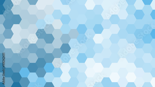 plakat Pastel blue geometric hexagon pattern without contour.