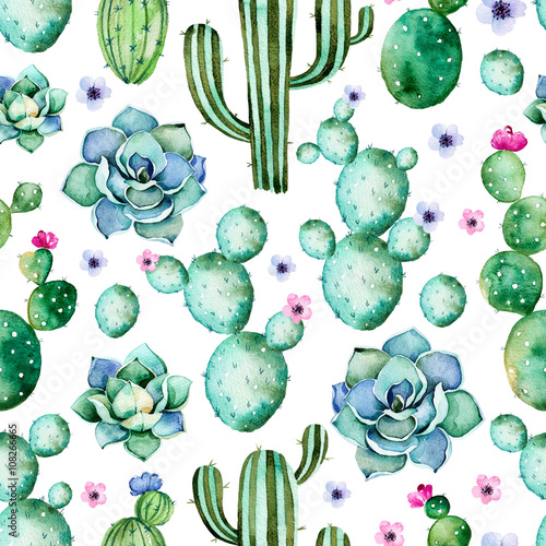 Poster Aquarel Natuur Seamless pattern with high quality hand painted watercolor cactus plants,succulents and purple flowers.Pastel colors,Perfect for your project,wedding,greeting card,photo,blog,wallpaper,pattern,texture