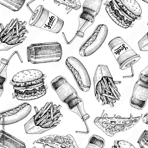 Keuken foto achterwand Art Studio Hand drawn fast food pattern. Junk food and soda drinks backgrou