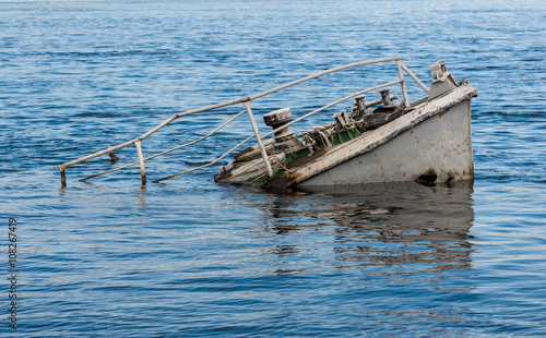 Foto op Canvas Schipbreuk Ship wreck in a river