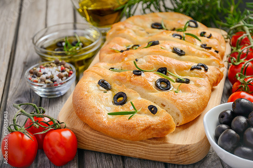 Italian Focaccia Bread With Olives And Rosemary On Rustic Wooden Background Selective Focus Copy