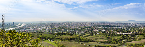 panorama of vienna with the suburbs and river danube