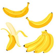 Vector Set Of Cartoon Yellow Bananas. Overripe Banana, Single Banana , Peeled Banana, Bunch Of Bananas.