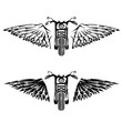 biker theme grunge labels set with bike and wings