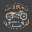 wild racer vintage print with motorcycle,wings and skulls