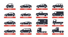 Car Type And Model Objects Icons Set, Automobile. Vector Black Illustration Isolated On White Background With Shadow. Variants Of Car Body Silhouette For Web