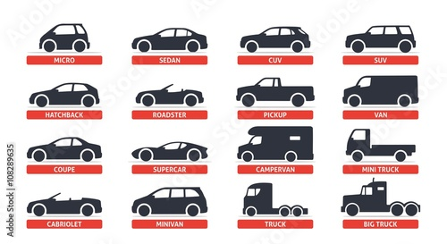 Valokuva Car Type and Model Objects icons Set, automobile
