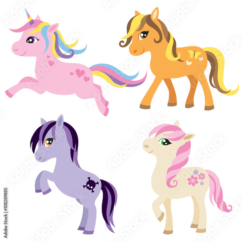 plakat Vector illustration of colorful horse, unicorn, or pony.
