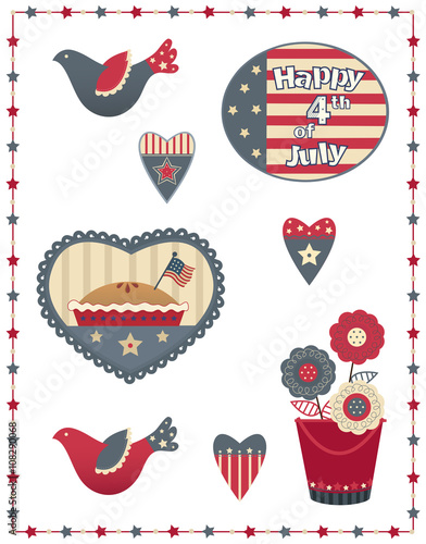 Fotografija  Fourth of July Decorative Set - Country style Fourth of July patriotic set with eight different designs