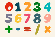 Colorful Vector Numbers Set