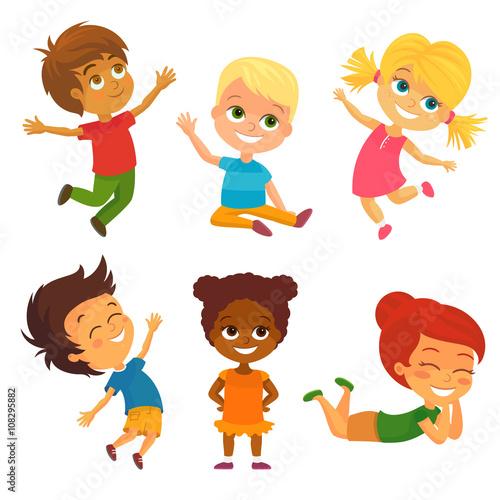 Fototapeta Vector Illustration of Happy Kids having Fun