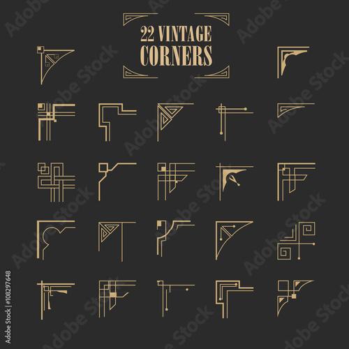 set of vintage ornamental calligraphic corners Canvas Print