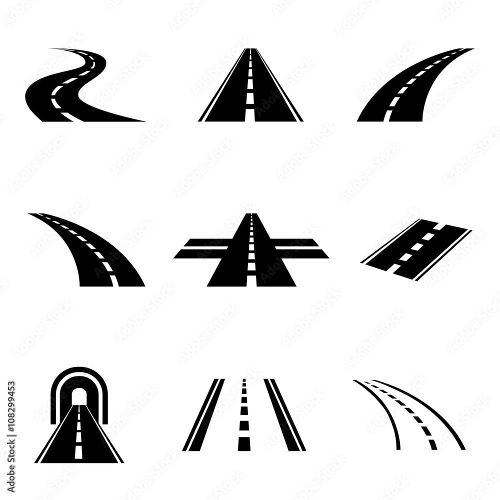 Fototapeta Vector black car road icons set. Highway symbols. Road signs