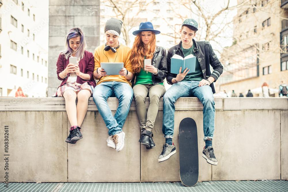 Fototapeta Friends bonding outdoors