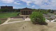 Aerial View Of The Parthenon In Nashville Tennessee On A Windy Day