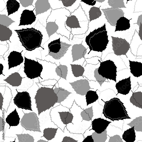 Seamless vector pattern with leaves on a white background.