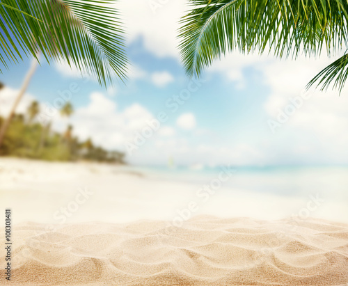 Summer sandy beach with blur ocean on background Canvas Print