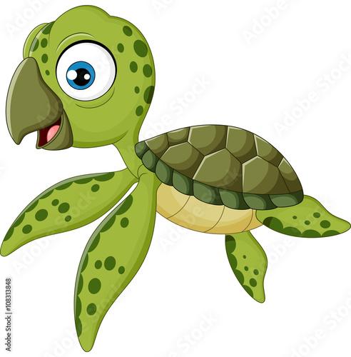 Wall Murals Fairytale World Cartoon baby turtle swimming,