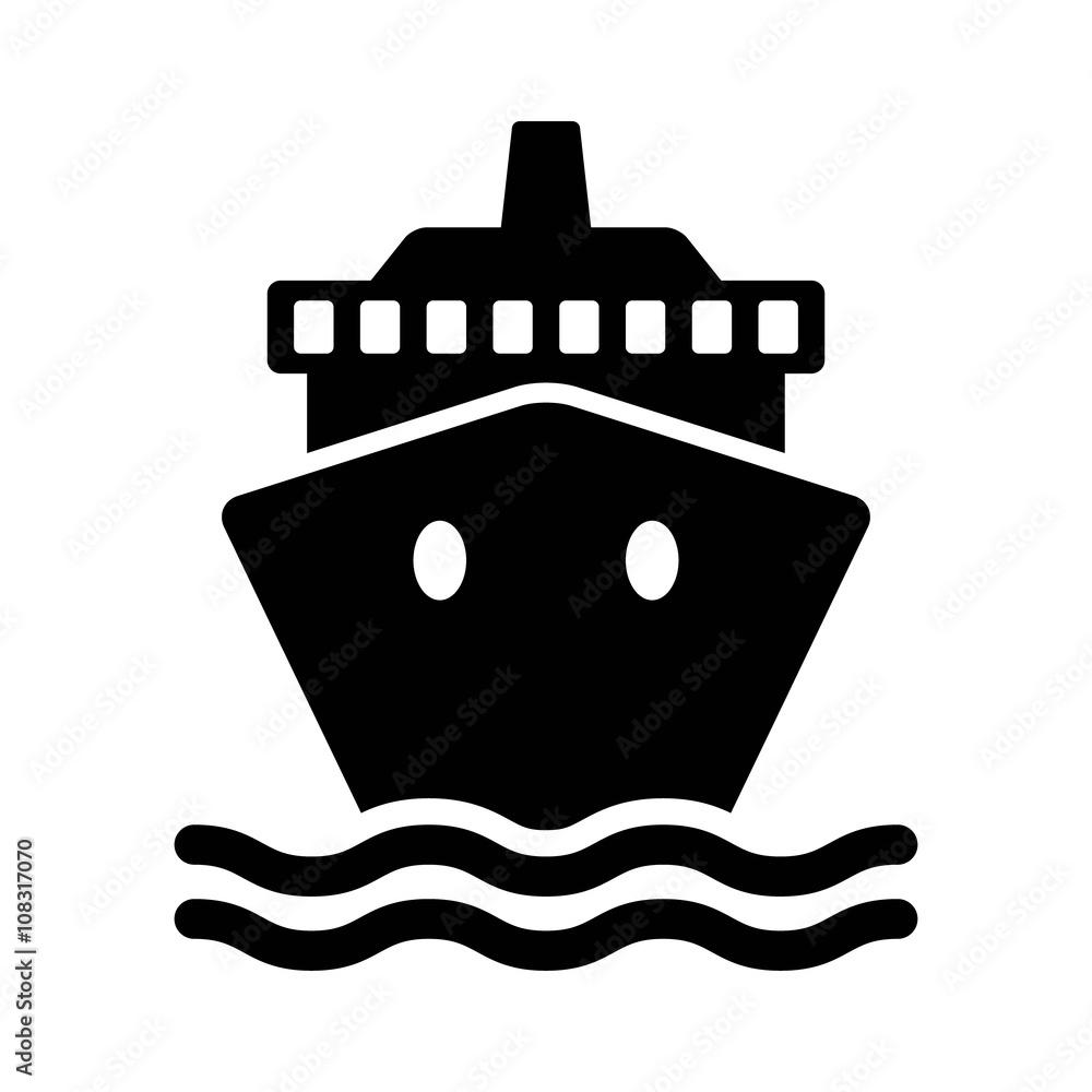 Fotografía Cruise ship / cargo ship or yacht flat icon for apps and ...