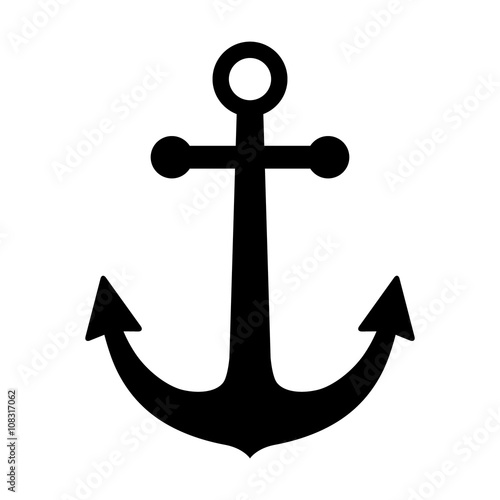 Fotografia  Ship anchor or boat anchor flat icon for apps and websites