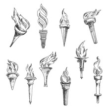 Ancient Wooden Flaming Torches Sketches