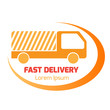 Vector logo design element with business card template. Truck, f