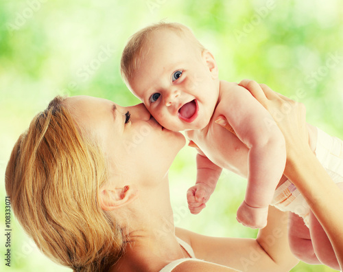 plakat Mother with baby outdoors