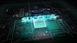 Hologram typo 'SUCCESS' on CPU chip circuit, grow artificial intelligence technology.