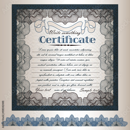 Papiers peints Affiche vintage 5).Certificate or gift coupon design in retro classic style for