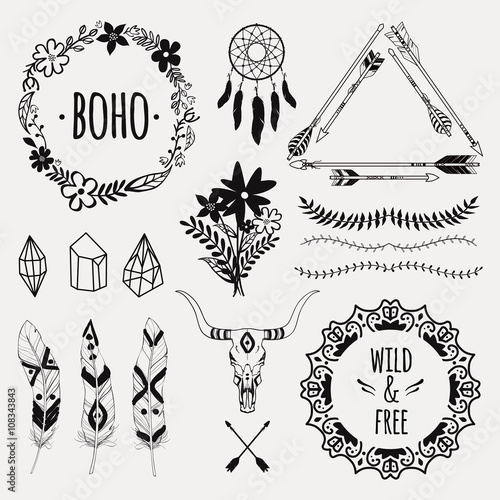 Photo sur Toile Style Boho Vector ethnic set with arrows, feathers, crystals, floral frames, borders, dream catcher, bull skull. Modern romantic boho style. Templates for invitations, scrapbooking. Hippie design elements.