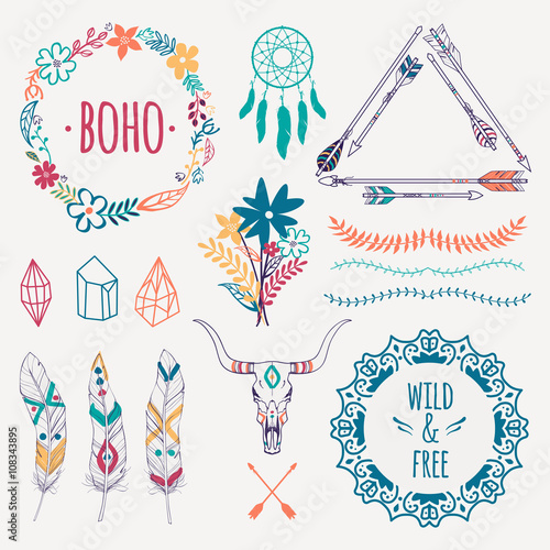 Photo sur Aluminium Style Boho Vector ethnic set with arrows, feathers, crystals, floral frames, borders, dream catcher, bull skull. Modern romantic boho style. Templates for invitations, scrapbooking. Hippie design elements.