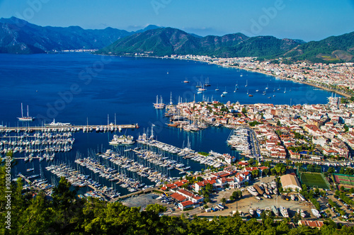 Aluminium Prints Turkey View of Marmaris harbor on Turkish Riviera.