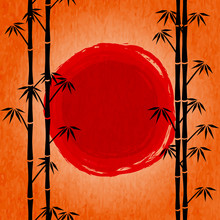 Japanese Sunrise. Black Silhouette Of Bamboo And Red Drawing Sun. Poster With Orange Sky And Japanese Landscape. View Throught Trees Of Bamboo