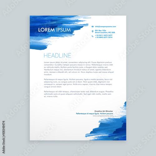 Fototapeta blue flowing ink letterhead template obraz