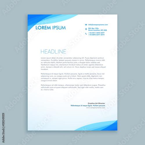 Fototapeta corporate blue wave letterhead design obraz