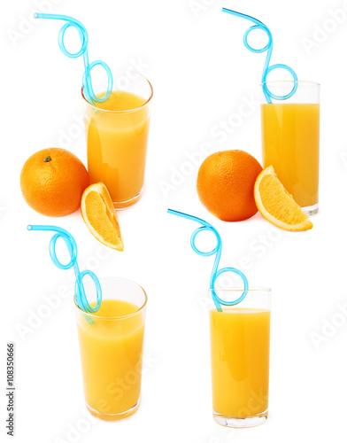 Foto  Hohes Glas füllte mit dem Orangensaft mit Trinkhalm des gebogenen blauen Plastik