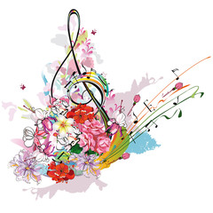 Fototapeta Muzyka / Instrumenty Summer music with flowers and butterfly, colorful splashes.