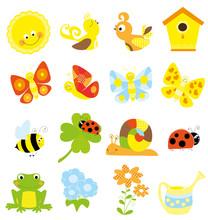 Set Of Cute Little Creatures And Nature Elements - Vectors For Children