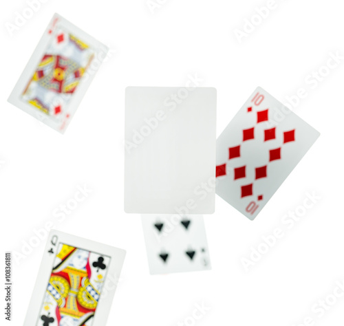 Pinturas sobre lienzo  Blank play card on White background