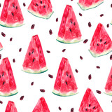 Watercolor seamless pattern with slices of watermelon - 108362288