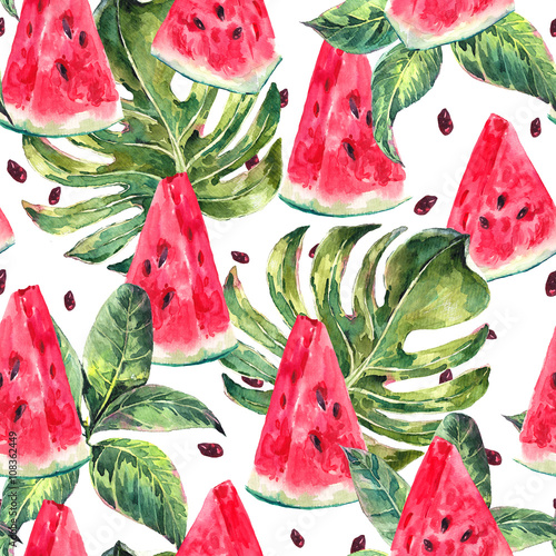 Photo  Watercolor seamless pattern with slices of watermelon