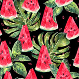Watercolor seamless pattern with slices of watermelon - 108362619