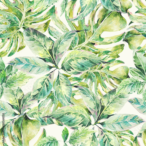 Foto-Vinylboden - Summer exotic watercolor seamless pattern (von depiano)