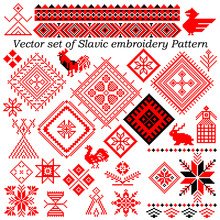 Vector Set Of Patterns Slavic Embroidery (28 Elements) - Stock Vector