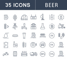 Set Vector Flat Line Icons Beer