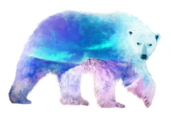 Panel Szklany Skandynawski Polar bear double exposure illustration