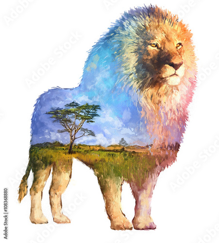 Lion double exposure illustration