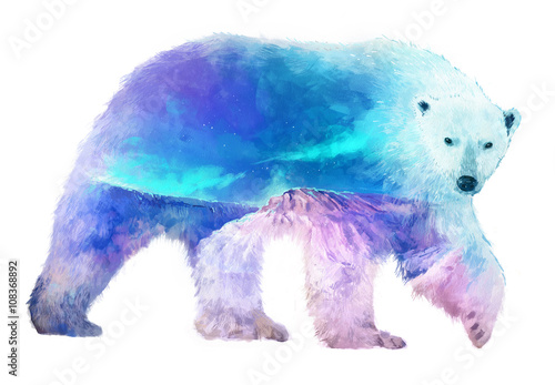 Polar bear double exposure illustration
