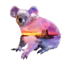 Koala Double Exposure Illustration